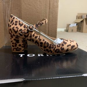 Faux suede leopard print Mary Jane